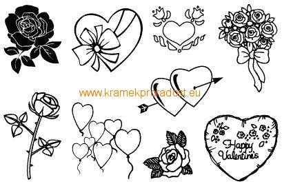 Razítko gelové srdce a květiny
